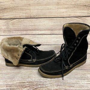 Salvatore Ferragamo Fur Lined Suede Chukka Boots